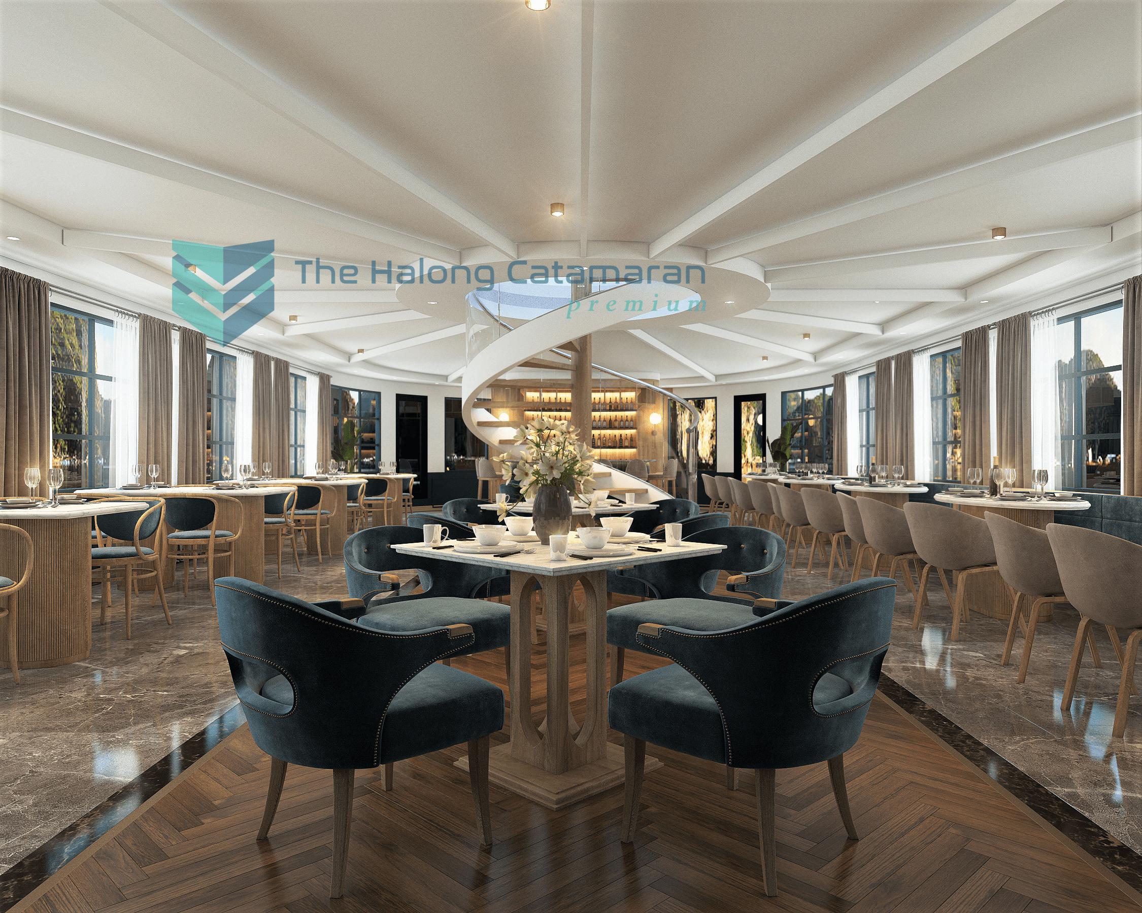 halong bay premium luxury day cruise dinning room