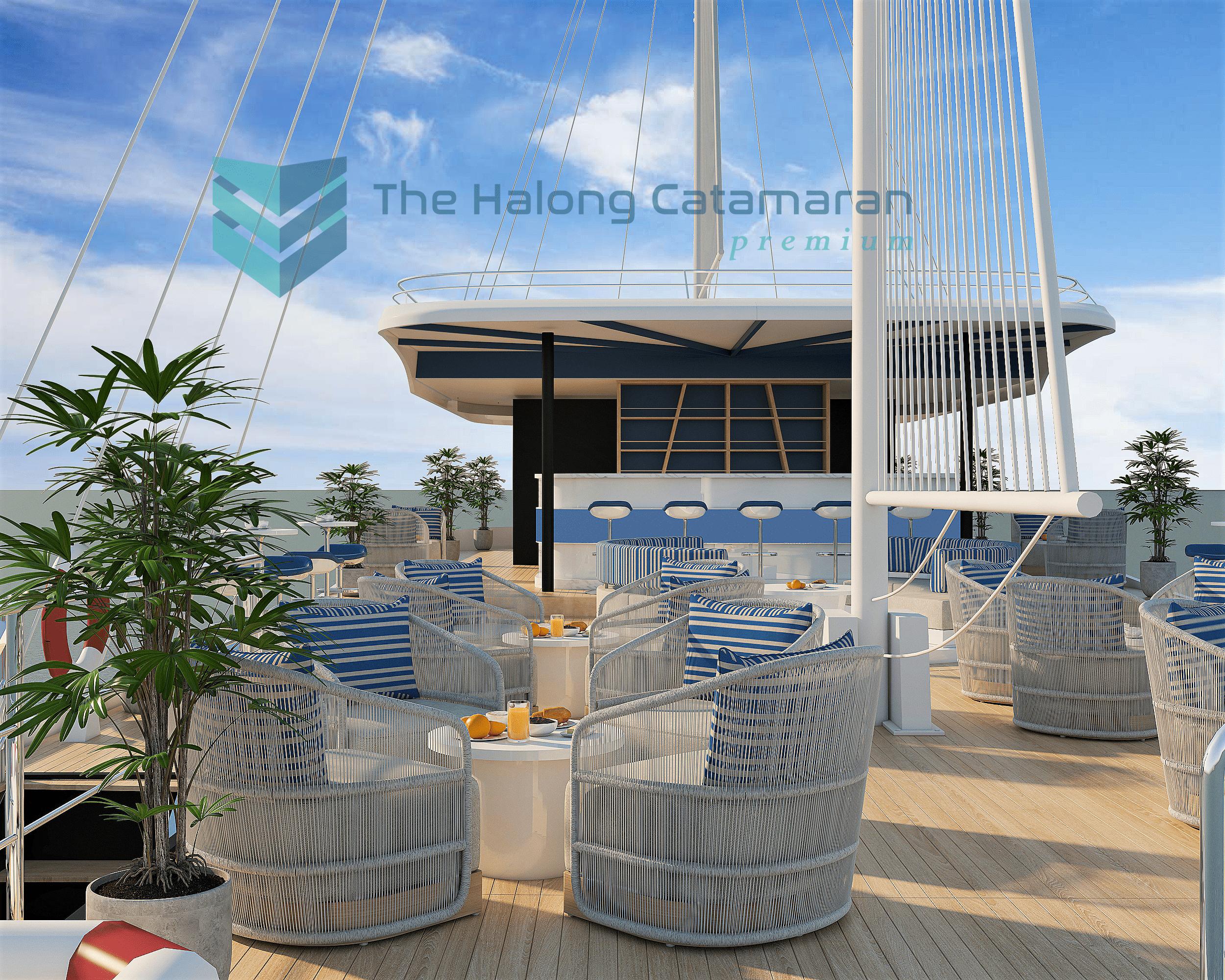 halong bay premium luxury day cruise sundeck